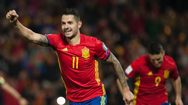 Spain's midfielder Vitolo celebrates after scoring during the FIFA qualifying Group G football match Spain vs Macedonia at Los Carmenes stadium in Granada, on November 12, 2016. / AFP PHOTO / JORGE GUERRERO