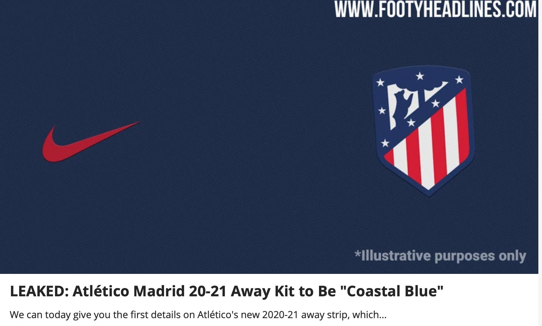 Dos medios filtran la camiseta suplente del Atlético 2020/21: ¡será azul marino! 1